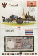 Thai Collectible Currency -- Baht 10 Bill And Coin