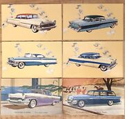 Vintage Lot Of 6 1950s Packard Clipper Station Wagon Car Advertising Post Cards