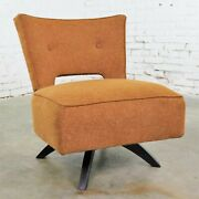 Mid Century Modern Swivel Slipper Chair Attributed To Kroehler Manufacturing