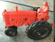 Vintage 1950's Auburn Rubber Farm Country Toy Tractor Red Farmer