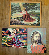 Jesus Christ Vintage Lot Set Of Three Paint By Number Paintings Religious