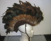 Pre-owned One Of A Kind Custom Made Indian Mohawk Headdress Movie Prop