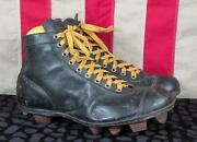 Vintage 1920s Black Leather Football Shoes W/stacked Cleats Antique Rugby Sz 7.5