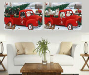 Christmas Santa Express Delivery Red Truck Canvas, Dogs, Cats, Pet Photo Canvas