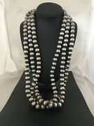 Stunning 14 Mm Statement Navajo Pearls Sterling Silver Bead Necklace 3s 8282