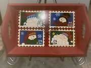 Decorative Wooden Serving Tray W/ Handles Christmas Usps Postal Mail Stamps 13x9