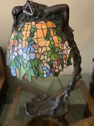 E. Thomasson Signed Daphne Laurel Tree Bronze Stained Glass Lamp 28andrdquo Female Nude