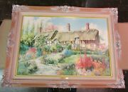 Marty Bell 1992 Miss Hathawayand039s Garden Painting Lithograph 1138/1800 Framed Coa