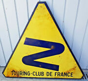 Antique Large Panel Of Sign Enamelled Touring - Club Of France Turn