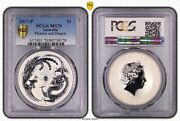 2017 1 Dragon And Phoenix 1oz Silver Coin By Perth Mint Pcgs Slabbed Ms70