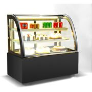 35 Countertop Refrigerated 3 Layers Cake Showcase Arcuate Glass Back Door 220v