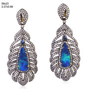 Opal Sapphire Pave Diamond 18kt Gold 925 Sterling Silver Feather Dangle Earrings