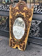Late 1800andrsquos Antique Carousel Mirror Etched Glass Dream Piece