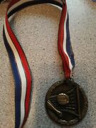Vintage Volleyball Medal Award Bronze Plated Pot Metal 2.5x2.5