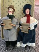 Antique Victorian Carolers Christmas Sing Ornaments Lace Velvet Clothes Boots