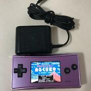 Used Nintendo Gameboy Advance Micro Purple Pink Console Charger Tested Work Good