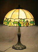 Antique Table Lamp J.a. Whaley And Co Floral Leaded Glass With White Metal Base
