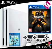 Ps4 Playstation 4 Pro 1tb White 2 Controls White Call Of Duty Blak Ops4 Fornite