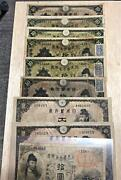 Used Japan Paper Money Old Banknote Currency 10 100 Yen 9 Set Antique Very Rare