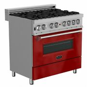Zline 36 Dual Fuel Range Oven Gas Electric Stainless Red Gloss Door Ras-rg-36