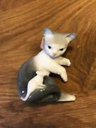 Lladro Porcelain Figurine Cat And Mouse Gatito Pasmado With Box 7cm Andtimes 8cm Andtimes 7cm
