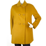 Lanvin Mustard Yellow Button Front Above Knee Length Swing Style Coat