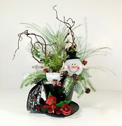 Christmas Snowman Top Hat Centerpiece Large Holiday Whimsical Table Decoration