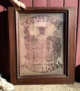 Rare Antique 19th C 1800s Early 1900s Pharmacy Window Sign Glass Apothecary 1890