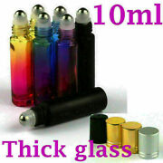 196x 10ml Thick Gradient Glass Roll On Bottles Metal Roller Ball Essential Oils