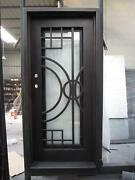 Beautiful Estate Heavy Good R Rated Iron Entry Door With Safety Glass - S34