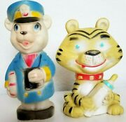 Alan Jay Clarolyte Squeaker Dog Toy Vintage Ships Captain And Baby Tiger