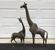 2 Bronze Tall Giraffe's, Mother And Baby, 47 And 35 Tall, Nice