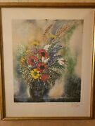 Reuven Rubin Flowers Hand Signed Lithograph Limited Edition Of 200 Only Framed