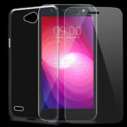 For Lg X Charge M322 Slim Soft Tpu Silicone Back Case Cover W/ Screen Protector