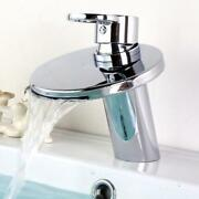 Bathroom Basin Sink Faucet Mixer Tap Waterfall Spout Hot Cold Single Handle Hole