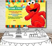 Elmo Sesame Street Yellow Personalised Birthday Party Banner Backdrop Background
