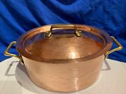 """Large 11-1/4"""" Copper Dutch Oven Pot W/ Lid Made In France Chef Bridge Company"""