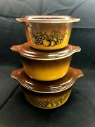 Pyrex Set Of 3 Old Orchard Cinderella Casseroles 473 474 475 With Brown Lids