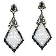 18kt Gold 925 Sterling Silver Carved Chalcedony Sapphire Diamond Dangle Earrings