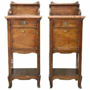 19th Century Art Nouveau Walnut With Marble-top Pair Of Antique Nightstand