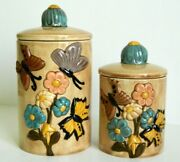 Vintage M. B. H. And03974 Pottery Sugar Flour Jar With Lid 3d Hand Painted Flowers 8