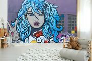 3d Blue Hair Girl Rooster Wallpaper Wall Mural Removable Self-adhesive Sticker