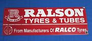 Vintage Ralson Tyres And Tubes Ad. Porcelain Enamel Sign Board Rare Collectible