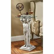 Round End Table Deco Male Statue Sculpture Unique Art Home Coffee Side Furniture