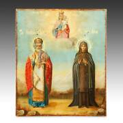 Russian Icon Saints Madonna And Child Painted Wood Panel Silver Underlay Russia