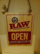 New In Box Raw Rolling Paper Wood Sign Double-sided Open/closed Sign