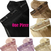 Thick One Piece Clip In 100 Remy Human Hair Extensions Black Brown Add Volume
