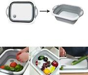 Collapsible Cutting Board Dish Tub Colander Wash And Drain Sink Basket 3 In 1
