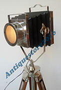 Vintage Floor Halloween Searchlight With Brown Wood Tripod Stand Spotlight Lamp