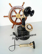 Vintage Brass Telephone Antique Rotary Black Maritime With Wooden Ship Wheel
